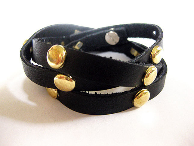 Studded Leather Wrap Bracelet: