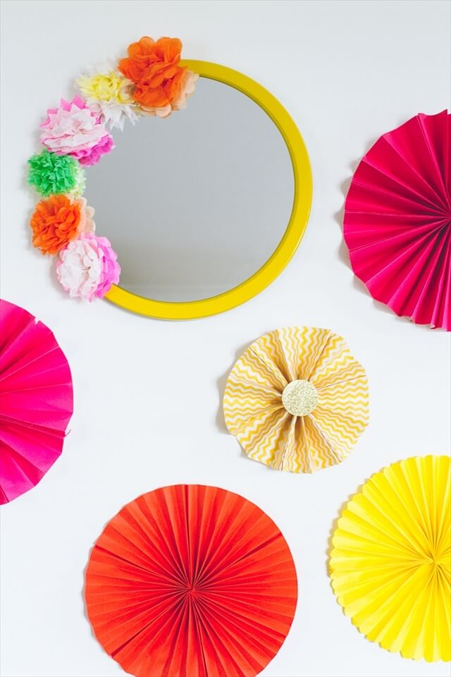 Crepe Paper Flower Mirror