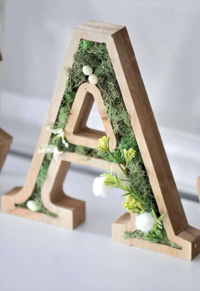 DIY moss wooden Easter letters for your home