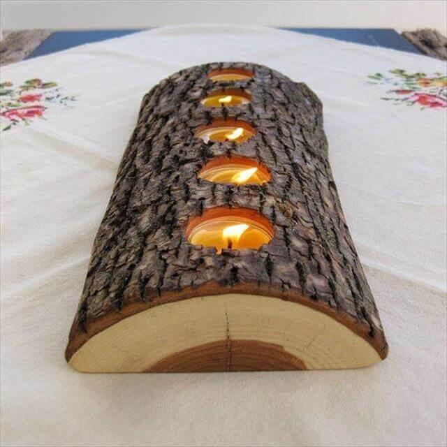 Wood Log Candle Holder: