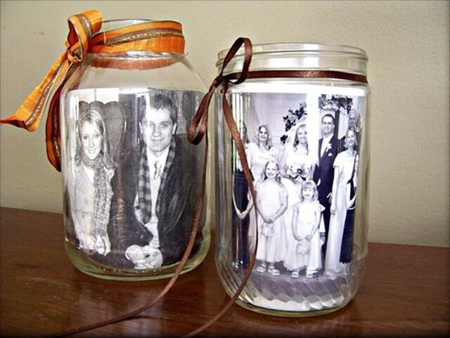 Old Mason Jar Picture Frame Gift Idea: