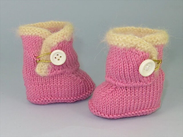 Baby Fur Trim One-Button Booties