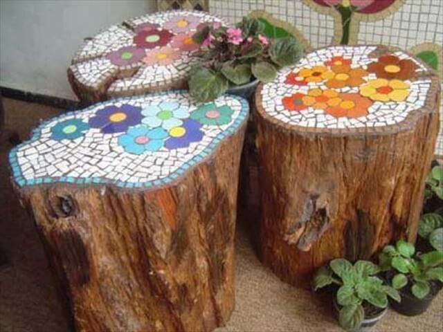Wood mosaic stools: