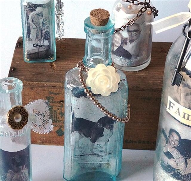 Recycled Glass Jar Photo Frames: