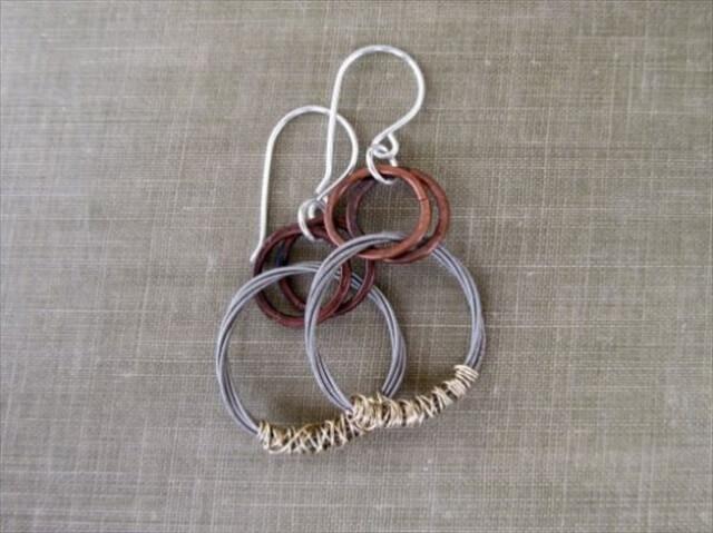 Recycled Guitar String Earrings