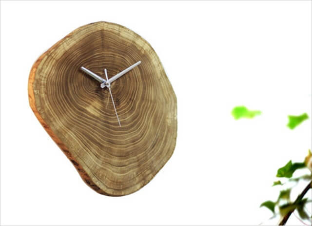 Rustic wood log wall clock