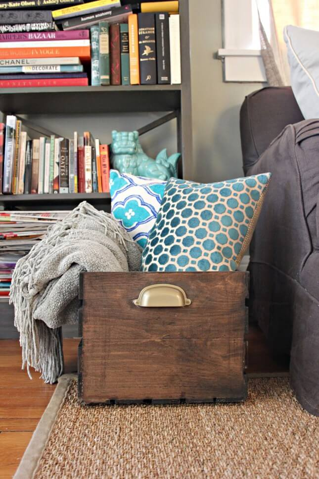 Throw Blanket + Pillow Storage: