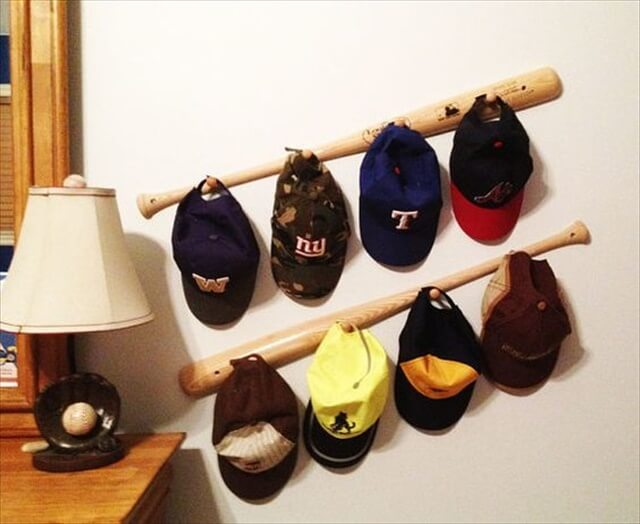 Baseball Bat Peg Hat Racks