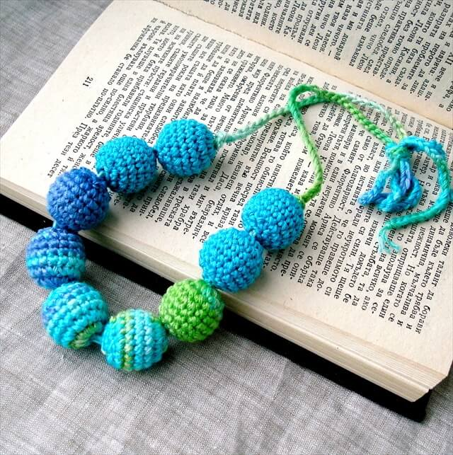 Crocheted Beads Handmade Jewelry Supplies Fiber