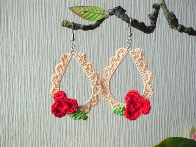 Beige Crochet Teardrop Earrings with Red Rose/ Crochet Jewelry/ Crochet Earrings/ Teardrop Earrings