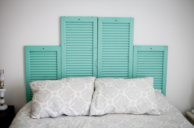 Homemade Shutter Headboardv
