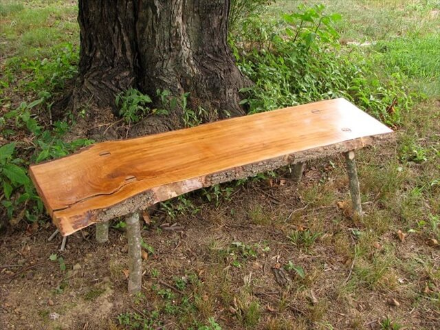 Bartlett Pear rustic bench with log legs