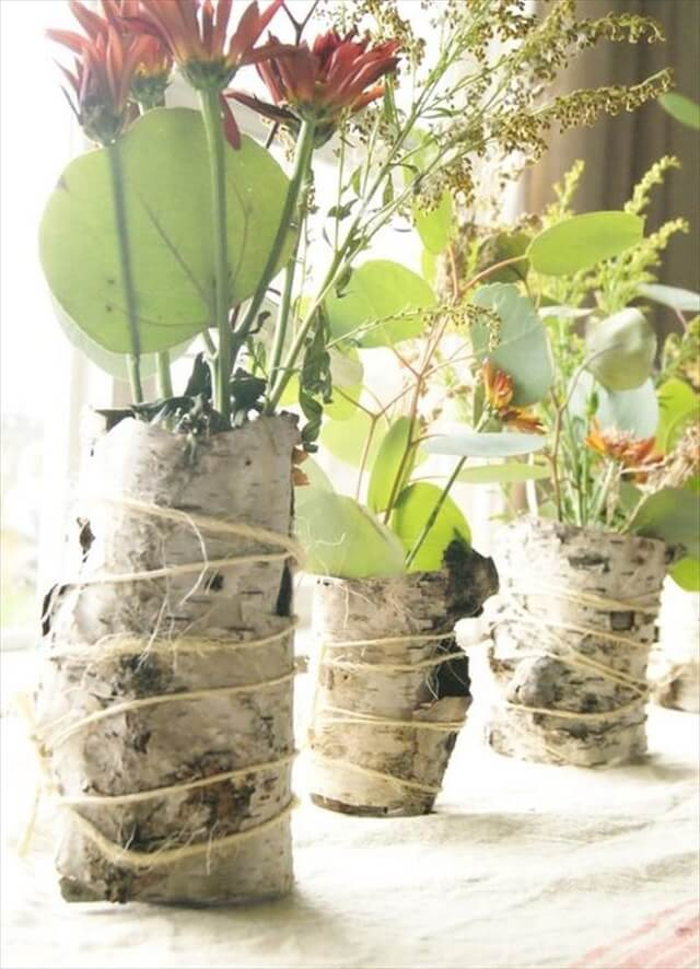 Birch bark vases.