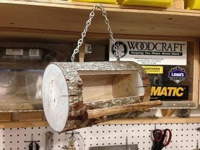DIY Log Bird Feeder