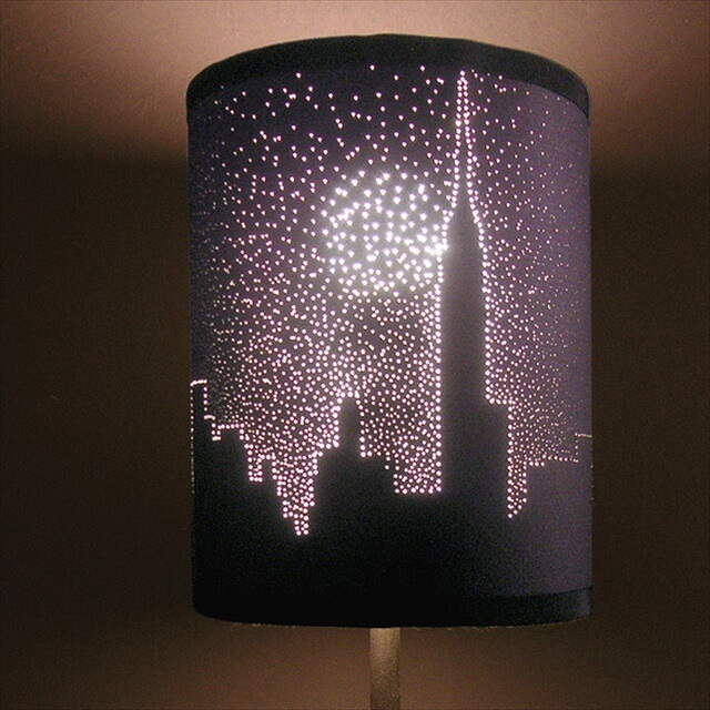 DIY City Skyline Pierced Lampshade