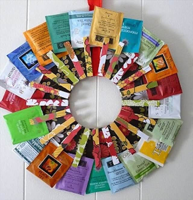 A wreath made from teabags and clothespins could definitely be displayed all year!