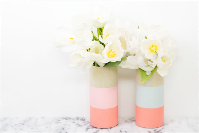 Color Blocked Wooden Vases