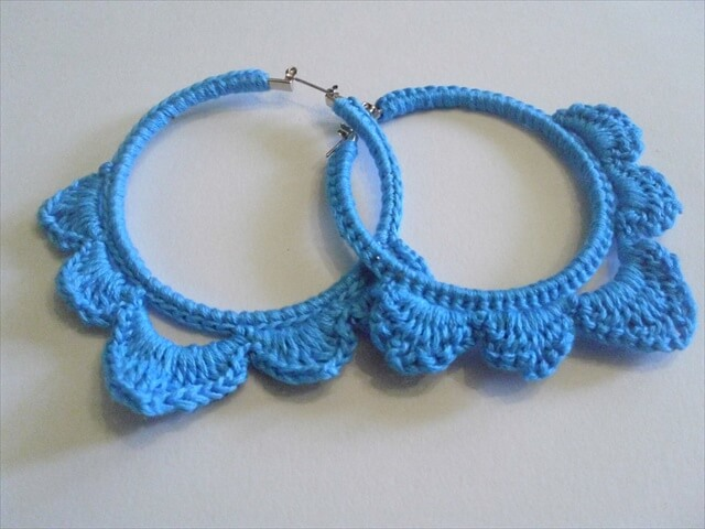Crochet Hoop Earring Earrings Blue Crocht Circle