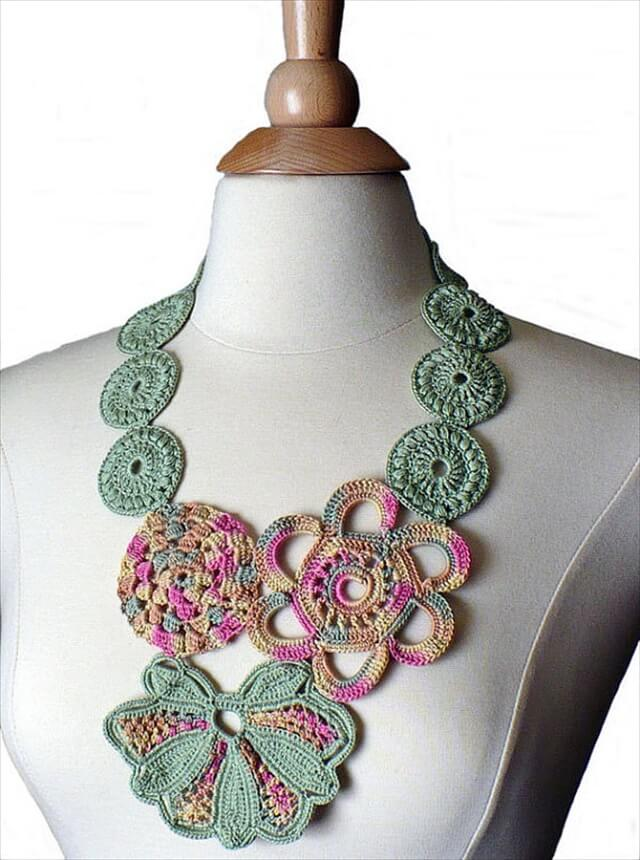 Crocheting Jewelry : Crochet Necklace Irish Crochet Bib Necklace Statement Necklace Crochet ...