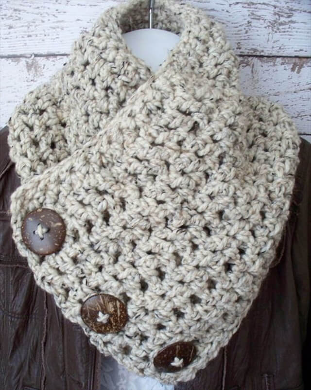 Crochet Cowl Scarf Natural Coconut Buttons