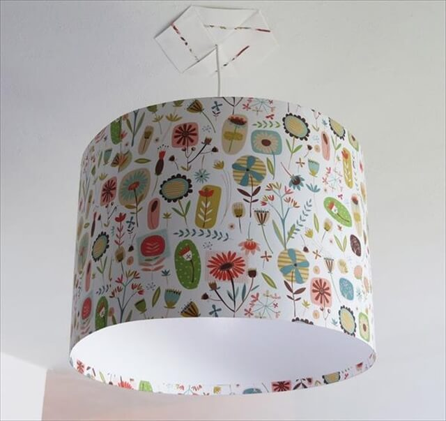 Recycled Old Printed Fabric Lampshade: