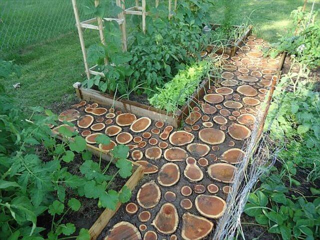diy log wood path