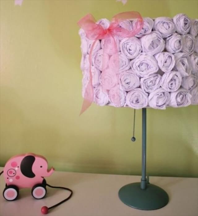 DIY lampshade covered with roses