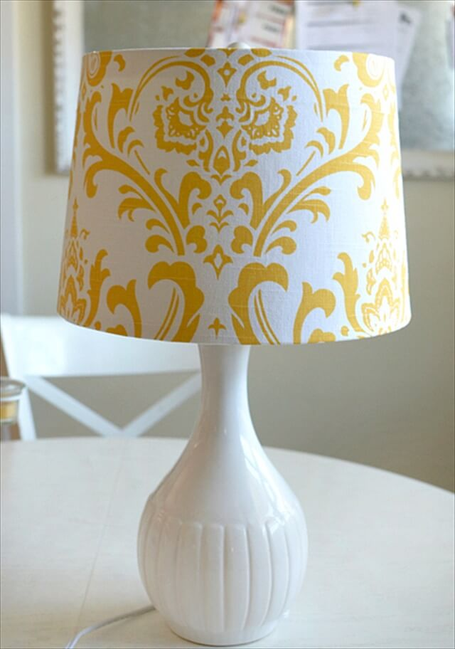 white and yellow lampshade