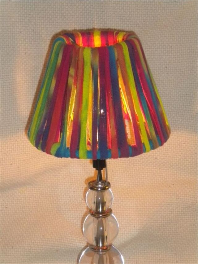 different colors clothes lampshade idea