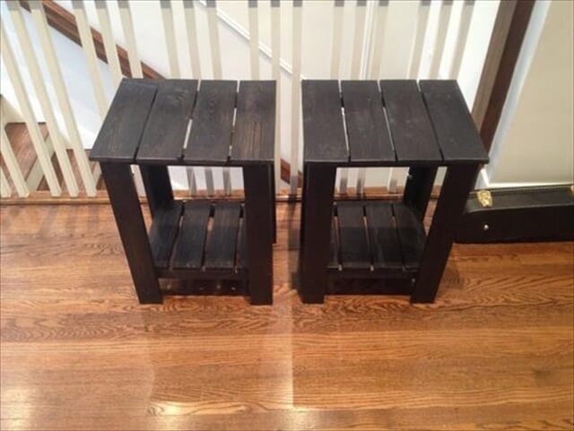 black pallet side table