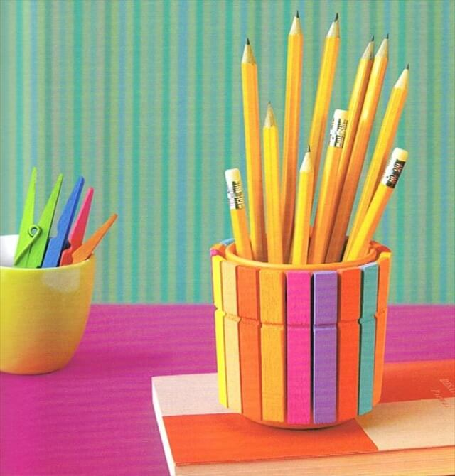diy pencil holder colourful clothespins idea