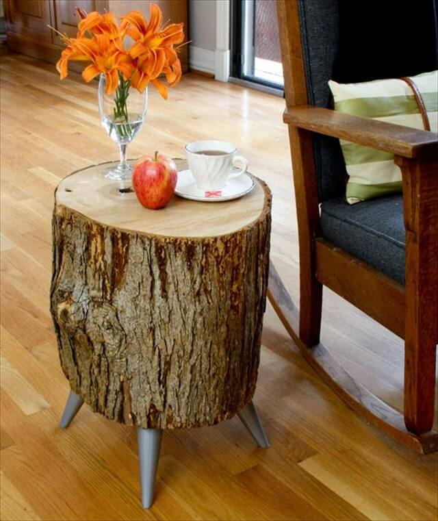Upcycled Wood Log Side Table: