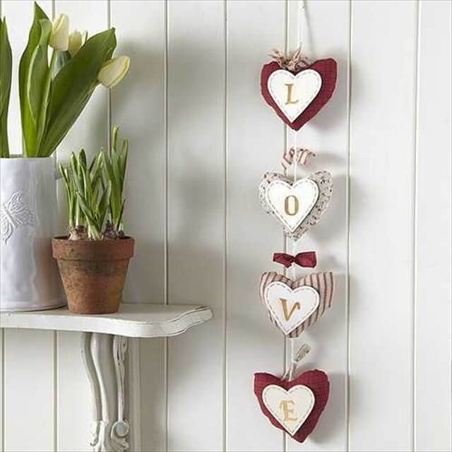 fabric hearts decorations with love letters
