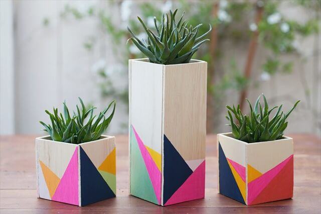 Geometric Wooden Planters
