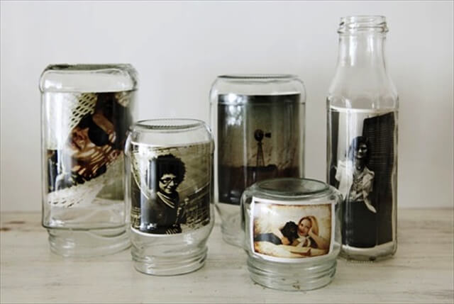 glass jars turned into picture frames