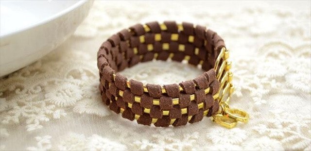 Stacked Gold and Suede Cuff
