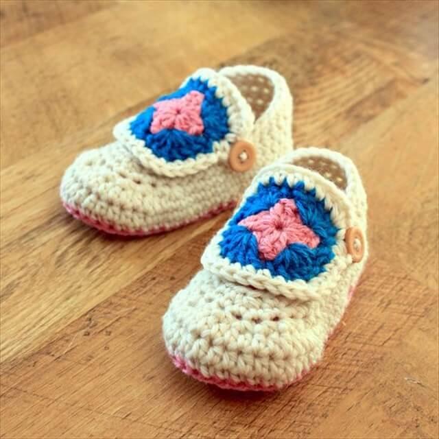 Easy Buccaneer, Crochet Shoes, Buccaneer Bootie, Crochet Baby, Granny Squares, Baby Booties