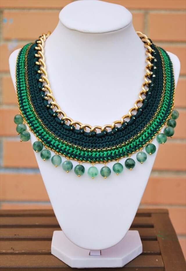 green Crochet necklace gold chain necklace with beads