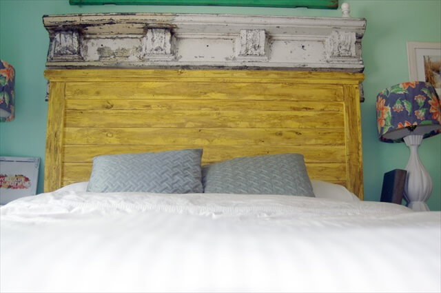 King Size Headboard Bed - Distressed Wood Rustic Painted Headboard- Handmade, Vintage Pallet Reclaimed