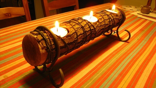 Easy Log Candle Holder,