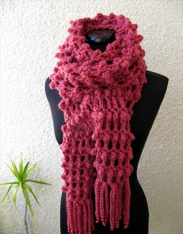 Crochet Long Scarf Tutorial Pattern , Trendy Crochet Scarf With Fringe Fashion
