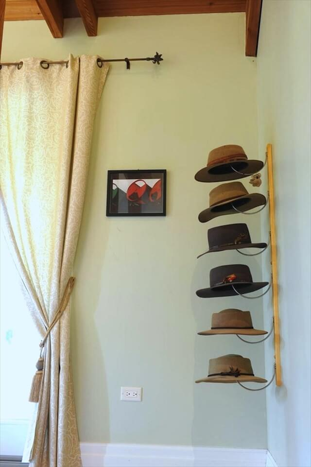 14 diy hat racks diy to make for Hat hanging ideas