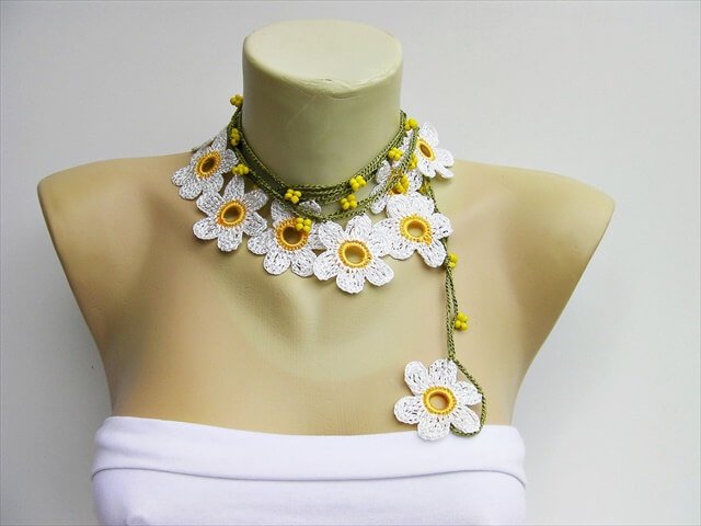 Crochet Necklace Irish Crochet Bib Necklace Statement Necklace Crochet Jewelry Crochet Flower Necklace Irish Lace Necklace