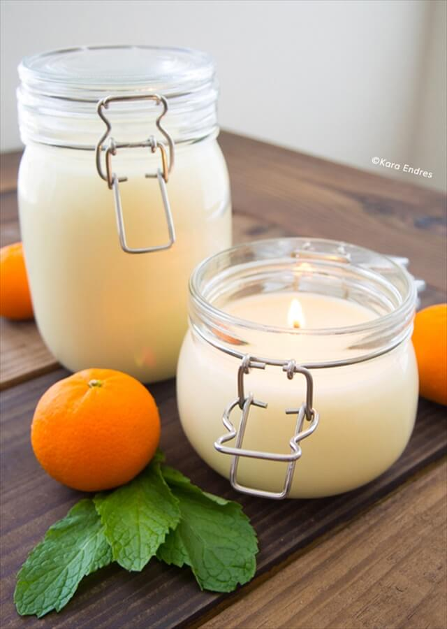 DIY Orange Mint Candle