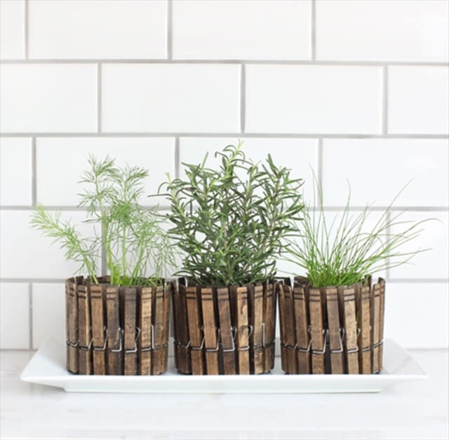 DIY Clothespin Planter and Candle Holder