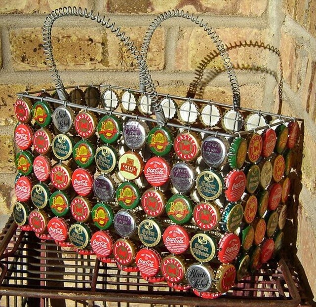 recycled bottle basket for storage