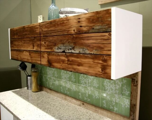 Reclaimed wood cabinet.