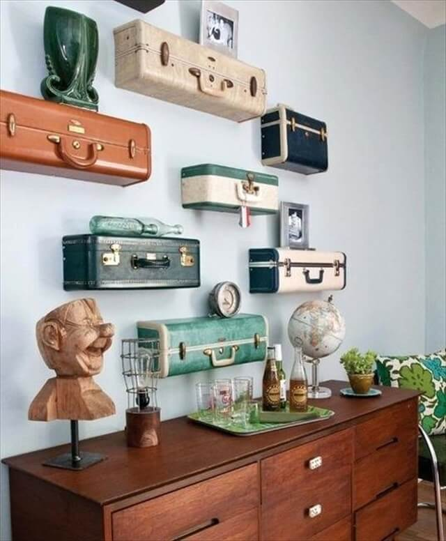 wall shelves that reuse and recycled suitcases in vintage style