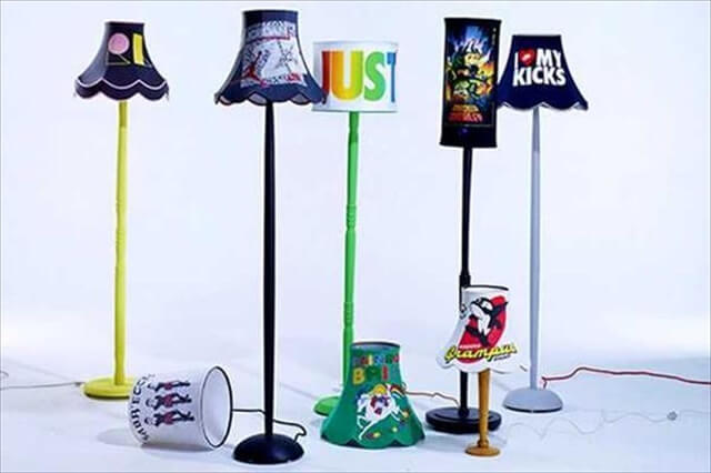 Old Clothes Into Colorful Lamp Shades:
