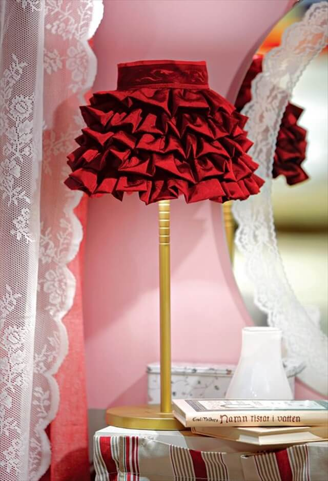 red fabric lampshade idea
